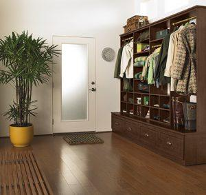 Stand Alone Dark Wood Entrance Way Storage With Shelving Closet Rods and Cabinets with Pull Out Drawers