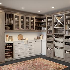 Pantry Storage with Light Grey Shelves Display Cabinets Storage Baskets and X Design Wine Cubbies